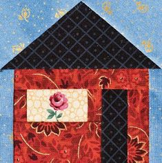 """House quilts - House quilts really appeal to us, maybe because """"home is where the heart is."""" With a total of 56 free quilt and block patterns. which hous. House Quilt Patterns, House Quilt Block, House Quilts, Paper Piecing Patterns, Barn Quilts, Quilt Block Patterns, Pattern Blocks, Quilt Blocks, Sewing Patterns"""