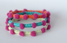 Pompon bracelets