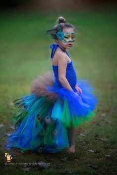 Pretty Homemade Peacock Costume for a Girl