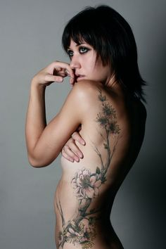 Flowers & branches tattoo - Ink - Portrait - Photography - Pose Idea