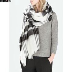 2016 Female Acrylic Warm Long Fashion Outside Scarves Striped Knitted Scarf…