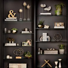 With our unique selection of accessories, frames, books and faux plants, we've got your shelves covered. Decorating Bookshelves, Bookshelf Styling, Bookshelf Design, Bookshelf Ideas, Bookcase, Wall Storage Shelves, Hanging Shelves, Shelving, Book Shelves