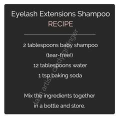 eyelash extensions care lash shampoo recipe
