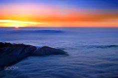 Sunset at 2000m, Tarcu Mountains.  #above #alpine #blue #carphatians #clouds #dark #blue #high #landscape #mountain #panorama #romania #sky #snow #sunrise #sunset #tarcu #top #twilight #winter