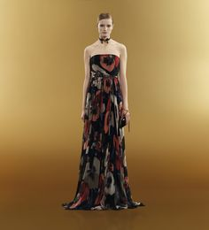 Oshibana print strapless belted gown  Gucci.com