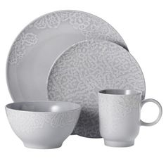 Target - 16 Piece Dinnerware Set - Grey Like that its neutral to mix other colors in Farmhouse Dinnerware, Grey Dinnerware, Stoneware Dinnerware Sets, Dinnerware Ideas, Kitchen Utensils, Kitchen Dining, Dining Room, Kitchen Paint, Kitchenware
