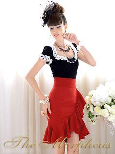 Morpheus Boutique - Red Designer Ruffle Hemline Celebrity Trendy Pleated Skirt, $59.99 (http://www.morpheusboutique.com/products/red-designer-ruffle-hemline-celebrity-trendy-pleated-skirt.html)