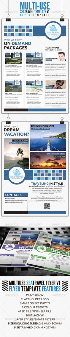 Sea Travel A4 Flyer Template V1 #GraphicRiver First Series to corporate Travel flyer design, for luxury travel and relaxation trips. Features Include: Fully Bleeded 3 Colours .PSD Front and back design SIZE INCLUDING BLEED: 216 MM X 303MM SIZE TRIMMED: 210MM X 297MM 300 DPI / Print Ready / CYMK Detailed .PDF instructions Fully editable and easy to use Organized and easy to identify layers Smart object image replacement Fonts Used: Ubuntu font family URL: .fontsquirrel /fonts/ubuntu…