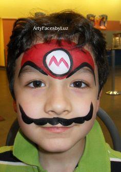 DIY Mario Face Paint #DIY #FacePainting #Halloween #Costumes #HalloweenCostume #Birthdays #Birthday #Party #Parties #SuperMario
