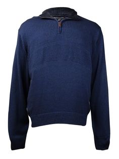 Tricots St Raphael Men's Solid Quarter-Zip Sweater (Indigo Heather, XXL)