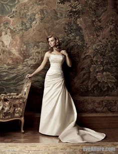 A-line Strapless Chapel Train Satin Wedding Dress with Appliques