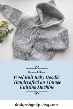 Wool Knit Baby Hoodie Handcrafted on Vintage Knitting Machine #handmade #babyknitwear #babyhoodie #knitting