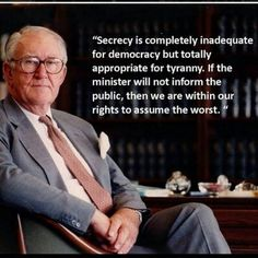 """This is a statement by the former conservative leader, Malcolm Fraser, regarding the current policies of the very same political party (the """"Liberals"""") that he used to lead.  •  Since his tenure consolidation of financial power has enabled criminal syndicates to undermine democratic policies via secret trade agreements and international agreements crafted by corrupt corporations • ' #BudgetFail #Depose #Abbott #WithoutBloodshed  •••"""