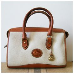 Vintage Dooney And Bourke Handbag All Weather Leather Awl White Purse 80s Bag