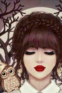 صورة كرتونية لبنت يابانية صينية مع بومة كيوت In 2021 Girly Art Girl Cartoon Girl Photography