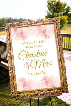 Wedding Sign Printable Summer Wedding Decor Blush by nelladesigns