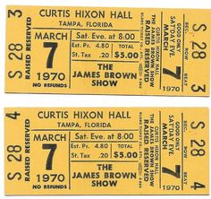 James Brown Concert Ticket Number Sequence, Piece Of Music, James Brown, Concert Tickets, Better One, The Fool, Stock Photos, The Originals, Yellow