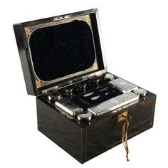 Victorian coromandel wood veneered and brass inlaid jewellery dressing box