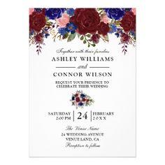Elegant Burgundy Navy Floral Wedding Invitation - invitations custom unique diy personalize occasions