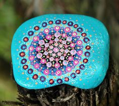 mandala rock, mandala stone, painted rock, painted stone, galet peint, blue mandala, meditation stone, handpainted rock, unique rock