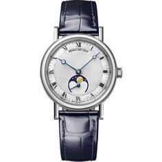 Breguet Classique Automatic Moonphase 30mm 9087bb/52/964 Watch ($19,513) ❤ liked on Polyvore featuring jewelry, watches, flat watches, white gold jewelry, breguet, polish jewelry and breguet watches