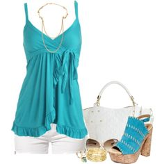 """""""Surplice Ruffle Cami - Blue Wedges"""" by deewest on Polyvore"""
