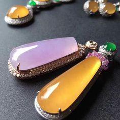 Multi-colored jade jewelry.