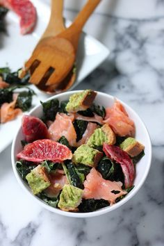 Smoked Salmon and Blood Orange Kale Salad with Avocado Toast Croutons