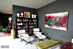 Intellectual Gray, Skateboard Store, Acrylic Chair, Neon Painting, Tufted Bench, Red Walls, Sliding Glass Door, Green Velvet, Bold Colors