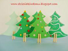 kolorowe choinki dla dzieci, dekoracje świąteczne