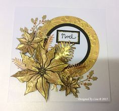 Handmade Christmas card by Lisa B. Imagination Crafts' Starlights paints, Sweet Poppy poinsettia stencil & dimension paste.