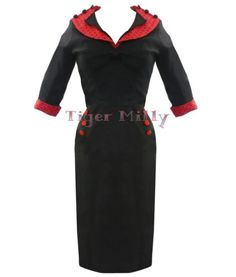 HELL BUNNY 50's vintage THELMA PENCIL WIGGLE DRESS BLACK RED   eBay