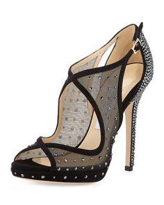 Leondra Crystal-Embellished Evening Sandal, Black by Jimmy Choo at Neiman Marcus.