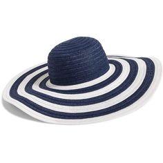 Vera Bradley Sun Hat in Navy Stripe ( 28) ❤ liked on Polyvore featuring  accessories 5b81abda30b9