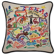 I want/ need this. Miss my home state so bad : TEXAS HAND-EMBROIDERED PILLOW