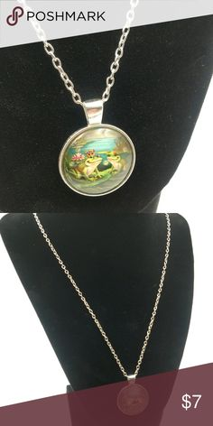 "❗️Clearance❗️ Frog Prince Glass Cabochon Necklace Lovely! Pendant is approx 1"", chain is approx 16""-18"".  See my other listings for other options! Jewelry Necklaces"