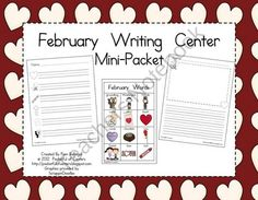February Writing Center Mini-Packet product from Pocketful-of-Centers on TeachersNotebook.com