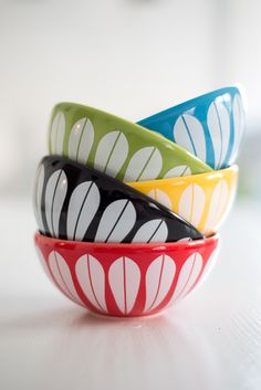Cathrineholm ceramic bowls from Fjeld Borg, Norway. Bowls by Lucie Kaas.