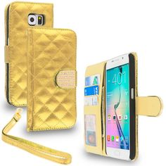 Samsung Galaxy S6 Gold Luxury Wallet Diamond Design Case Cover With Slots