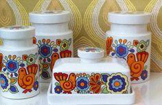Retro designs in pottery