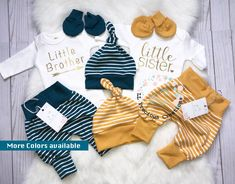 e1aa6f3d4e6d Twins Outfits Newborn Outfit Baby Boy Outfit Baby Girl Outfit Little Sister Little  Brother Coming Home Twin Boy Girl stripes Harem Leggings
