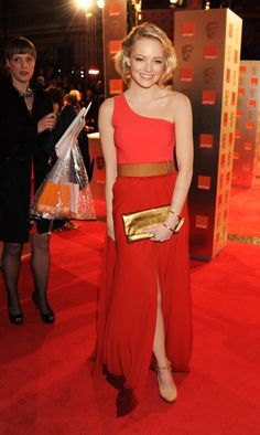 """Emma Stone in Lanvin at the BAFTAs! I love this dress! I've seen it a few times and I even pinned it on my """"Beautiful People"""" board a while ago. I'm so glad one of my favorite stars chose to wear it on the Red Carpet..."""