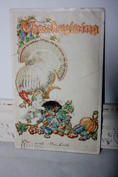 Antique Thanksgiving Postcard Embossed with a by onestrangegirl