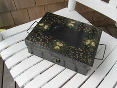 BEAUTIFUL ANTIQUE HAND PAINTED TOLE WARE TIN DOCUMENT LETTER LUNCH WORK BOX | eBay