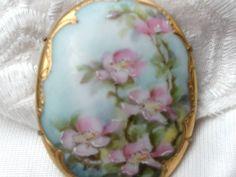 Vintage Hand Painted Brooch Blue Floral by SweetAngelVintage