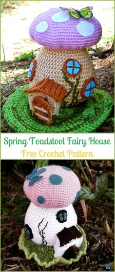 Crochet Toadstool Spring Fairy House Amigurumi Free Pattern - Amigurumi Crochet Mushroom Softies Free Patterns