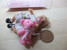 dolls house ooak sculpt baby girl + teddy bear, 1/12 scale