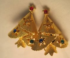 Vintage-Clip-Christmas-Tree-Earrings-with-Stones