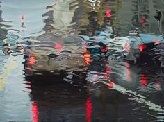 Suspension 2007 oil on canvas by talented artist, Gregory Thielker. Realistic Oil Paintings of Wet Windows.