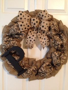BURLAP WREATH with INITIAL, Custom Initial Burlap Wreath, Front door Wreath, Wedding Gift Wreath, Fall Wreath by Toleshack on Etsy https://www.etsy.com/listing/213226987/burlap-wreath-with-initial-custom